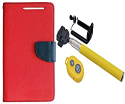 Novo Style Wallet Case Cover For Micromax Canvas Selfie Lens Q345 Red + Selfie Stick with Adjustable Phone Holder and Bluetooth Wireless Remote Shutter