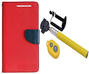 Novo Style Book Style Folio Wallet Case Samsung Galaxy A8 Red + Selfie Stick with Adjustable Phone Holder and Bluetooth Wireless Remote Shutter