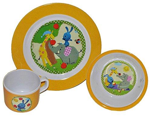 3-tlg-Geschirrset-Hase-KIKA-Kikaninchen-aus-Melamin-Trinktasse-Teller-Mslischale-Kindergeschirr-Frhstcksset-Kika-Kaninchen