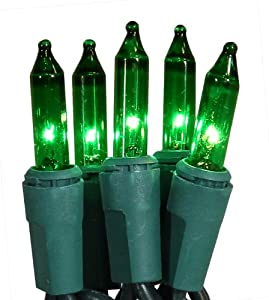 Set of 20 Battery Operated Green Mini Christmas Lights - Green Wire