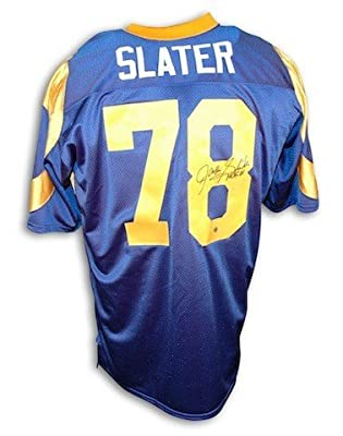 Autographed Jackie Slater Los Angeles Rams Blue Throwback Jersey Inscribed HOF 01 - Authentic Signed NFL Jerseys