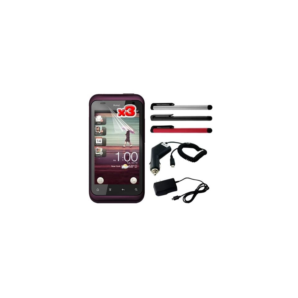 Premium 3 Packs of LCD Clear Screen Protector + Black Rapid Wall Charger + Rapid Car Charger + Red/Silver/Black Touch Screen Stylus Pen for HTC Rhyme