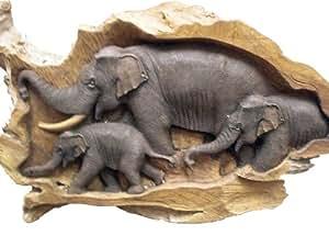 Exclusive Thai Decor Carved Elephant Scene Etd Ele 3 21 Home Kitchen