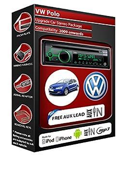 VW Polo autoradio Clarion kit lecteur CD MP3 radio play, iPod, iPhone, Android
