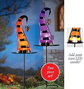 Set Of 2 Halloween Witch Hat Candle Holder Garden Stakes by Collections Etc