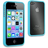 IGloo Hard Crystal Back Cover Case Skin with Gel Bumper Edge for the Apple iPhone 4s / 4 Mobile - Blue / Clear
