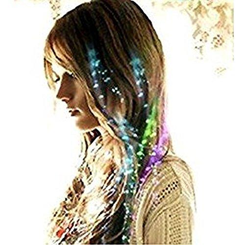 ブルー 5束セット 光る ファイバー エクステ 髪 つけ髪 メッシュ LED ヘアアクセサリー グッズ