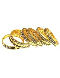 Shingar Jewellery Ksvk Jewels Antique Gold Plated Bangles Set For Women (9288-m-set-p)