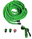NEW GO HOSE EXPANDING FLEXIBLE GARDEN HOSE PIPE EXPANDABLE + FREE SPRAY GUN WITH ON/OFF VALVE IN ORANGE 100FT (100FT Green)