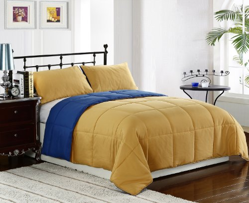 Cozy Beddings 2-Piece 64 By 88-Inch Reversible Down Alternative Comforter Set, Twin, Blue/Gold/Yellow