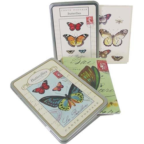 Butterflies Cavallini Vintage Carte Postale tin