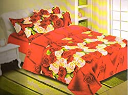ELLIS 100% Cotton Double Bed Sheet with 2 Pillow Covers