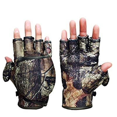 Luwint Youth Magnetic Adjustable Camo Pop-Top Mitten Gloves with Thumb Fold Back Pocket for Photographing Hunting Hand Warmers