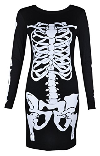 Womens Ladies Halloween Skeleton Skull Bone Red Blood Heart Girls Bodycon Costume Novelty Party Dress Tunic Plus Size 8-10-12-14 16 18 20 (M/L 8-10 (12-14), Black)