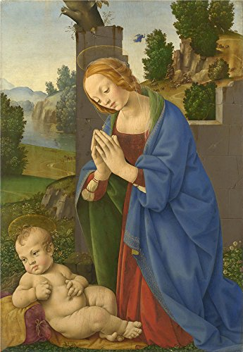 Oil Painting 'Lorenzo Di Credi The Virgin Adoring The Child' 8 x 12 inch / 20 x 29 cm , on High Definition HD canvas prints is for Gifts And Game Room, Home Office And Kids Room Decoration