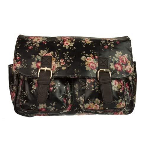 New Girly HandBags Floral Oilcloth Satchel Messenger Crossbody Shoulder Bag College School Flowers Print