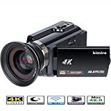 4K Camera WIFI Camcorder Kimire Ultra HD Digital Video Camera 48.0MP Recorder 3.0 Inch 270 Degree Rotation Capacitive Touch Screen Night Vision 16X Zoom Camcorder with Wide Angle Lens(4K-Black)