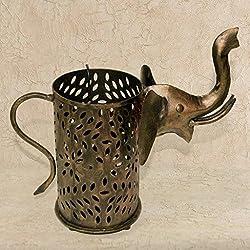 Ethnic Arts Brown Color Brass Elephant Shape Tea Light Lamp Home Decor 1022