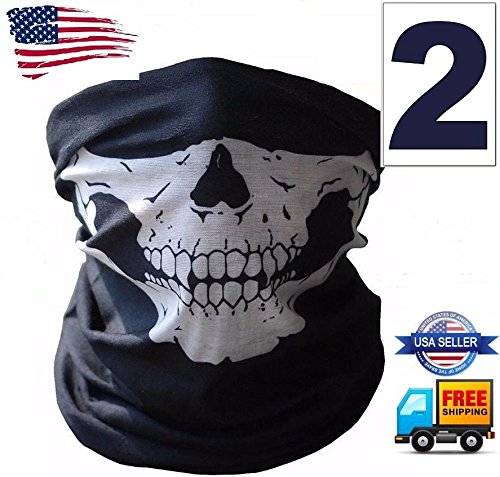 [2 Ghost Biker Skull Hood Face Mask Motorcycle Ski Balaclava CS Sport Helmet] (Jaws James Bond Costume)