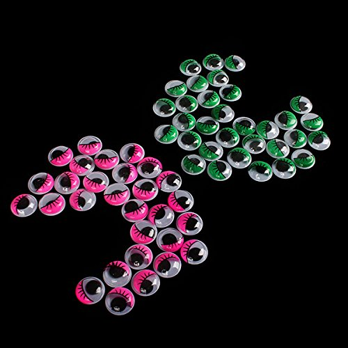 Pink&Green Wiggly Wobbly Eyes Kids Clothe Diy Art Handcraft Printed Lashes Pack Of 200 front-238850