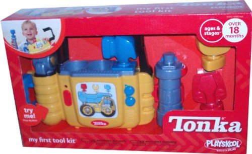 Tonka My First Tool Kit with Tool Case, Tire Gauge, Tool Handle and 3 Interchangeable Tool Heads (Screwdriver, Wrench and Hammer) - 1