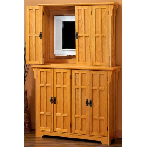 Flat screen tv armoire 8 door dark oak for Entertainment armoire