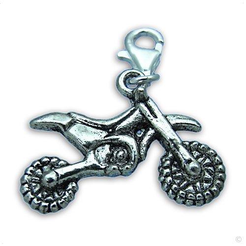 Beggar Charm pendant - motocross Bike silver Dangle #8516, clip on Dangle | bracelet Charm | Phone Charm