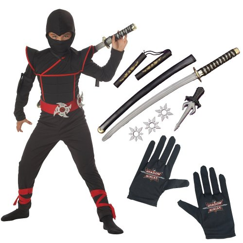 Stealth Ninja Child Costume with Gloves and Ninja Weapon Kit, Large (10-12)