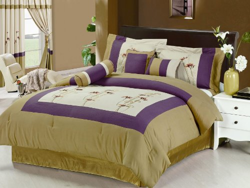 Cute  Pcs Embroidery Floral Comforter Set Bed In A Bag Queen Beige Gold Purple