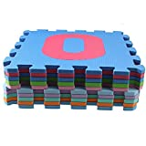 AGPtEK 10 Piece 32x32 cm High Quality Exercise Mat with EVA Foam Puzzle Interlocking Tiles and Number Graphic Pattern