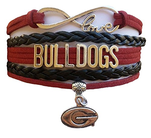 University of Georgia Bulldogs NCAA Red & Black Infinity Braided Leather Bracelet with Silver
