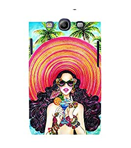 HAWAIIN GIRL WEARING A BIG BEACH HAT DRINKING A MOCKTAIL STANDING ON A BEACH 3D Hard Polycarbonate Designer Back Case Cover for Samsung Galaxy S3 Neo :: Samsung Galaxy S3 Neo i9300i