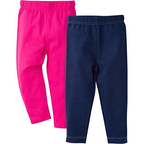 [Gerber Girls' Toddler Girls' 2 Pack Leggings, Pink/Denim, 3T] (Pink Spandex Bodysuit)