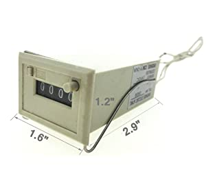 YXQ Digital Counter DC24V 0-9999 Mechanical Electromagnetic with 2 White Wire, CSK4-DKW (Tamaño: 4 Digits)