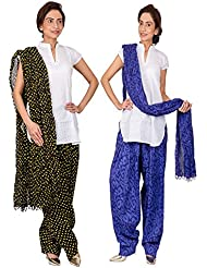 Womens Cottage Combo Pack Of 2 Printed Cotton Semi Patiala & Cotton Dupatta With Lace Set - B01G1GJOLC