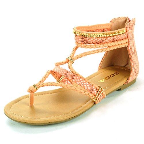 Soda Womens Mimosa Coral Snakeskin Dressy Flats 7.5 M Us