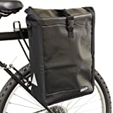 PedalPro Waterproof Single Rear Bicycle Pannier Bag with Shoulder Strap - Black