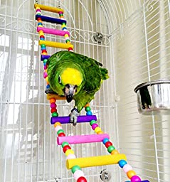 Wooden Parrot Perch Toys For Bird Macaw African Greys Budgies Cockatiels Parakeet Hamster Rat Cage Ladder Toy