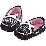 etrack-online Toddler Slip de algod�n de ni�a en cuna suela suave antideslizante zapatos negro negro Talla:0-6 meses