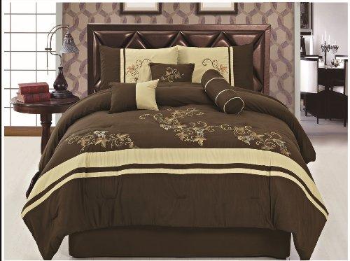 7 Pcs Embroidered Microfiber Comforter Set Brown Beige Queen Size front-580754