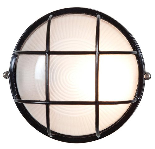 Access Lighting 20296-BL/FST Nauticus 10-inch Wet Location Round Bulkhead, Black Finish with Frosted Glass