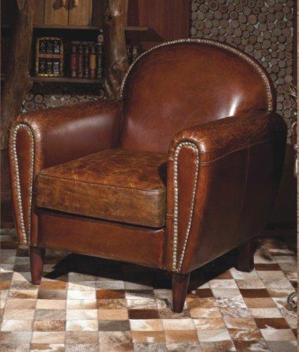Vera Pelle Vintage Sedia Poltrona in pelle marrone antico design lounge Club Poltrona Mobili Nuovo 444