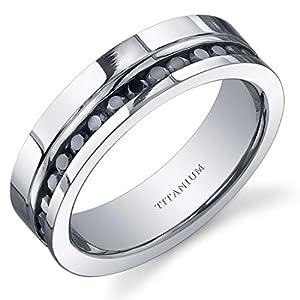 Revoni Black Cubic Zirconia Mens 6mm Titanium Eternity Wedding Band Ring Size T,