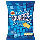 Walkers Squares Crunchy Salt & Vinegar Flavour Potato Snack 27.5g (Pack of 48)