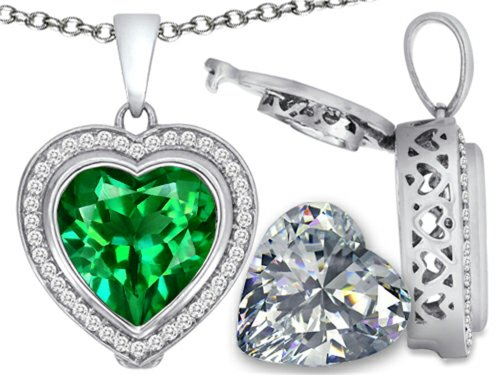 Switch-It Gems 2in1 Heart 10mm Simulated Emerald Pendant Necklace with Simulated White Topaz Sterling Silver (Switch Gem Necklace compare prices)
