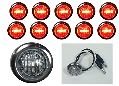"""10 New 3/4"""" Clear/Red Led Clearance Marker Bullet Marker Lights W Connector Ends And 316Ss Trim Ring"""