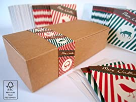 Bright Stem Stationery Boxset Of 50 Christmas Cards Notecards (9.5 x 9.5cm) Vintage Style Design made from 100% Recycled Card