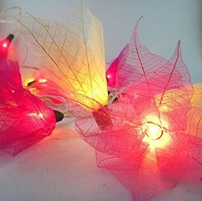 Thai Vintage Handmade 20 Magenta Tone Bodhi Rose Leaves Flower Fairy Lights String Home Decor 3.5m