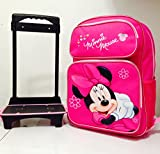 Disney Minnie Mouse Rolling Backpack with Detachable Wheeled Trolley- 16 Large PINK & Disney Minnie Mouse Lunch Box Bag with Shoulder Strap and Water Bottle - PINK