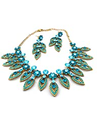 Mychamakbangles Fashion Jewellery Austrian Crystal Caribbean Blue Wedding Party Necklace Set For Women
